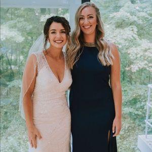 Navy and gold bridesmaid dress